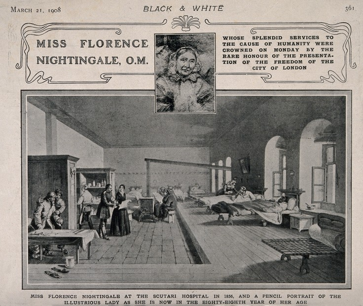 V0015400 Crimean War: Florence Nightingale at Scutari Hospital, 1856,